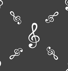 treble clef icon Seamless pattern on a gray vector image
