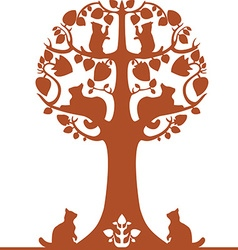 Tree with cats vector