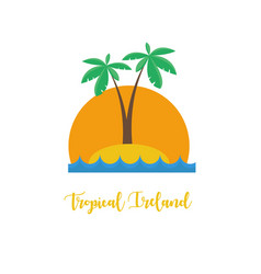 Tropical ireland concept palm beach sunset vector