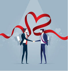 two business man in mask shake hands and hold vector image