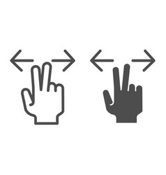 Two fingers resize line and glyph icon enlarge vector