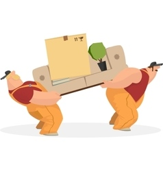 Two working men carry sofa a box things the vector