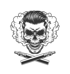 vintage hipster skull with trendy hairstyle vector image