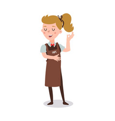 Waiter woman wearing the uniform holding a dish vector