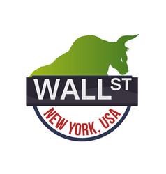 Wall street new york bull vector