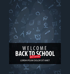 Welcome back to school banner with different vector