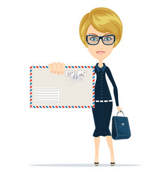 woman in formal suit holding an envelope with a vector image