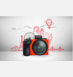 world travel with famous monuments vector image