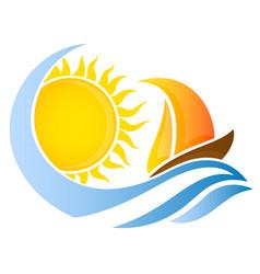 Yacht on wave and sun vector