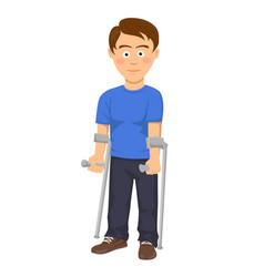 Young man standing with crutches vector