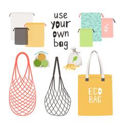 Zero waste bag items vector
