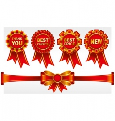 badges with ribbons vector image vector image