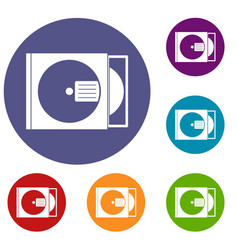 cd box with disc icons set vector image vector image