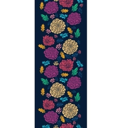 Colorful vibrant flowers on dark vertical seamless vector image