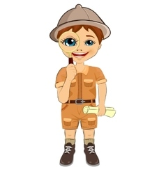 kid explorer boy holding magnifying glass vector image vector image