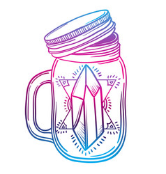 print with a beautiful jar of crystal and diamond vector image vector image