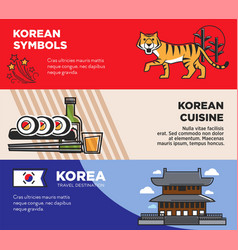 korea travel famous landmarks and korean culture vector image
