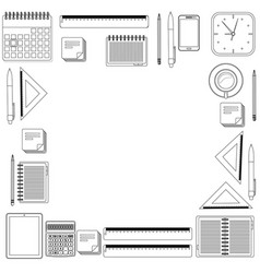 set hand draw office tools vector image vector image