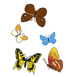 set of bright butterflies vector image vector image