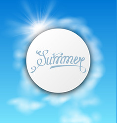 abstract card with summer text sky cloudy vector image vector image