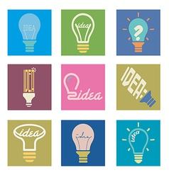 bulb idea icons set vector image vector image