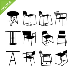 Chair and table silhouettes vector image