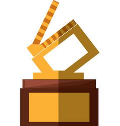 clapper movie trophy awards shadow vector image