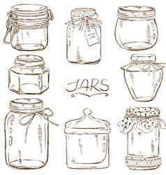 Set of isolated mason jars vector