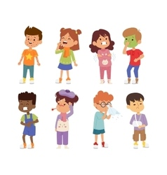 Sick children set vector image