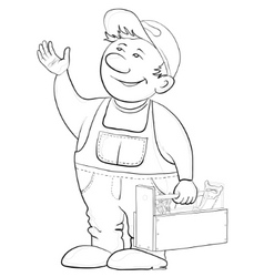 worker with a toolbox contours vector image vector image