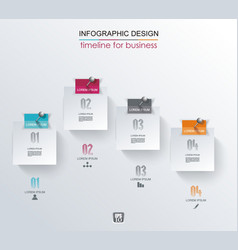 abstract white paper stickers infographics with vector image vector image