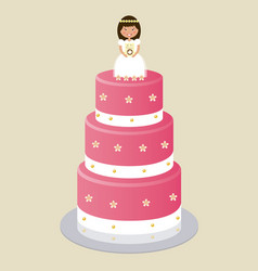 communion cake for girl vector image vector image