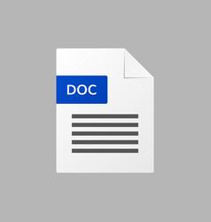 doc text document doc file format icon vector image