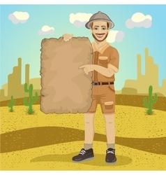Explorer young man with safari hat vector