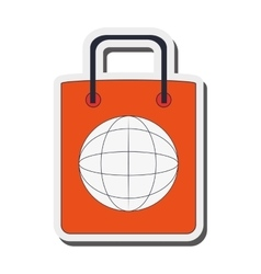 global shopping bag icon vector image
