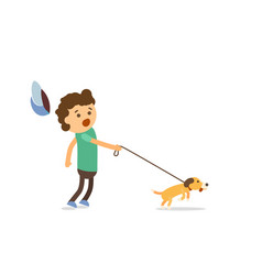 little boy walking with his naughty puppy vector image