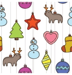 Merry christmas and happy new year pattern vector image