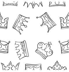 pattern of king queen crown vector image vector image