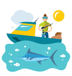 spearfishing fishing flat style colorful vector image vector image