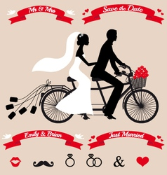 wedding couple on tandem bicycle set vector image vector image