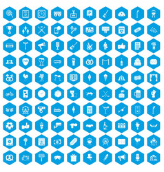 100 events icons set blue vector image