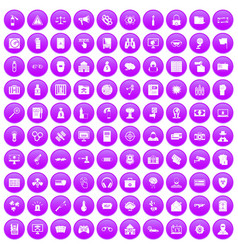100 hacking icons set purple vector