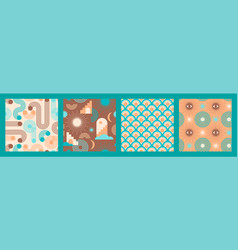 abstract geometric collection seamless patterns vector image