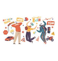 Adrenaline activity and sport recreation happy vector