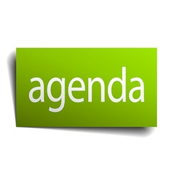 Agenda green paper sign on white background vector