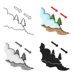 Avalanche icon in cartoon style isolated on white vector