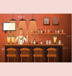 banner of interior with bar counter bar vector image