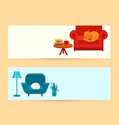 Banners cozy home cute cat is sleeping vector
