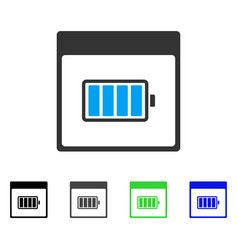 Battery calendar page flat icon vector