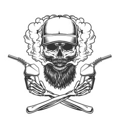 Bearded and mustached trucker skull vector